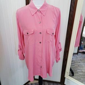 Pink vintage XL silk button down rolltab shirt